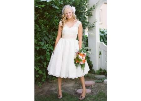 Piękna Koronkowa Krótka Suknia ślubna Retro Gliwice