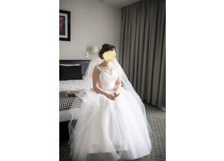Suknia ślubna Biała Długi Welon Koło Wiązana Rozmiar 3840