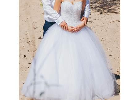 Piękna Suknia ślubna Princessa Gorset Zdobiony Perełkami Sztum