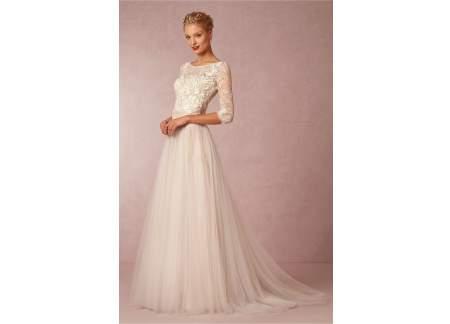 Suknia ślubna Szyta Wzór Bhldn Amelie Gown Sm 3638 Ecru Długi