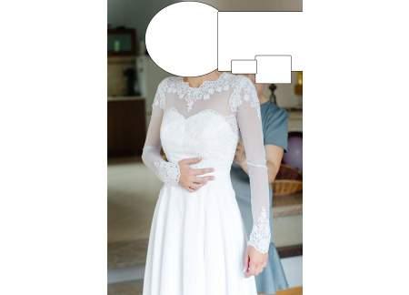 Suknia ślubna Biała Koronka Długi Rękaw Delikatna Gipiura