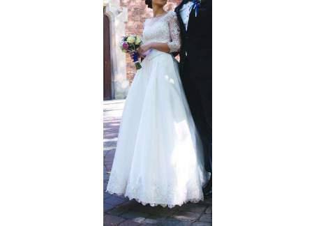 Wyjątkowa Suknia ślubna Koronka Rękaw 34 łańcut