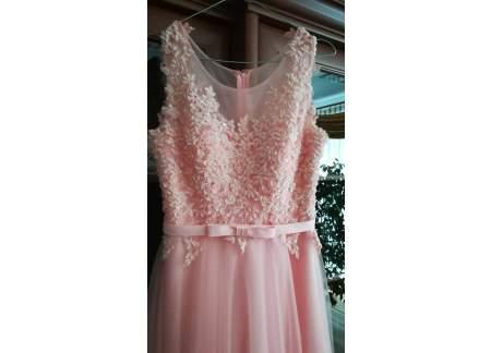 długa suknia balowa pudrowy róż (lublin)