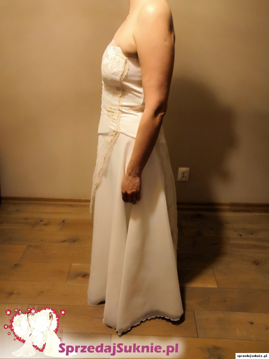Suknia ślubna 36-38 w kol. ecru,2-częściowa, po czyszczeniu w profesjonalnej pralni chemicznej