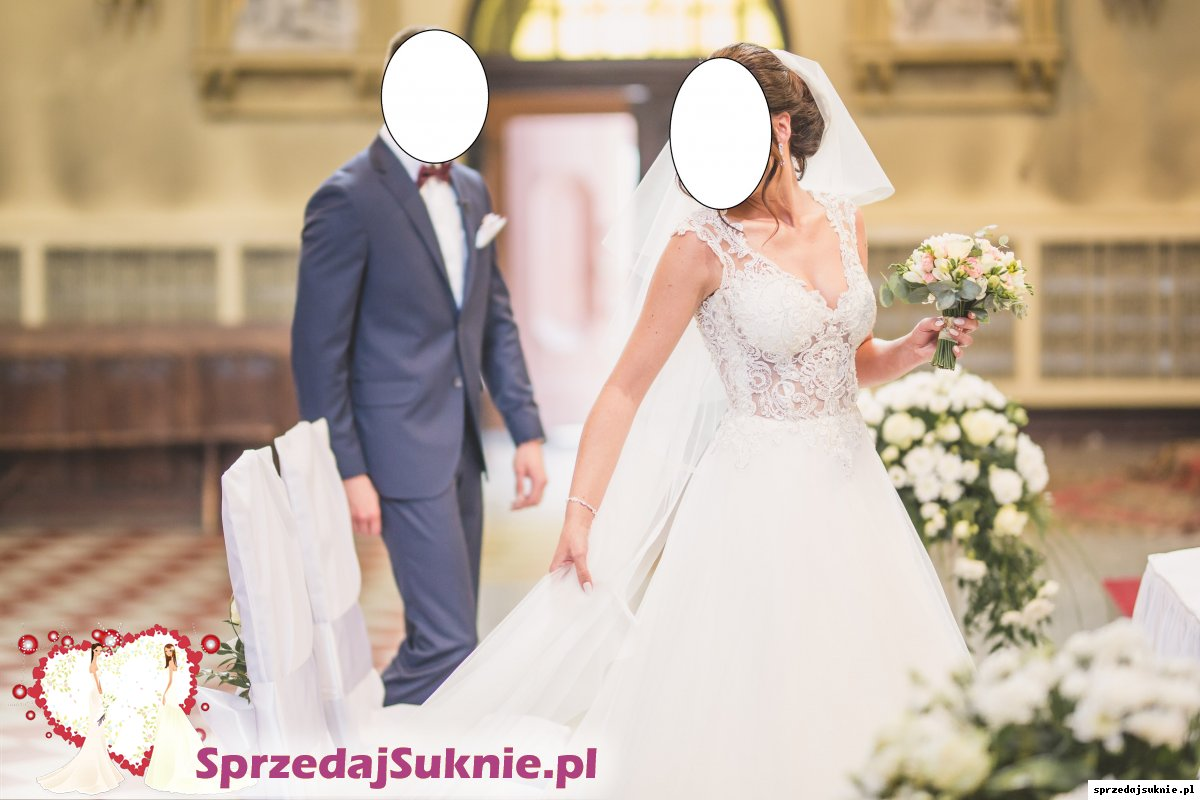 Piękna suknia ślubna na 175 cm + 8 cm obcas, rozm. 36/38