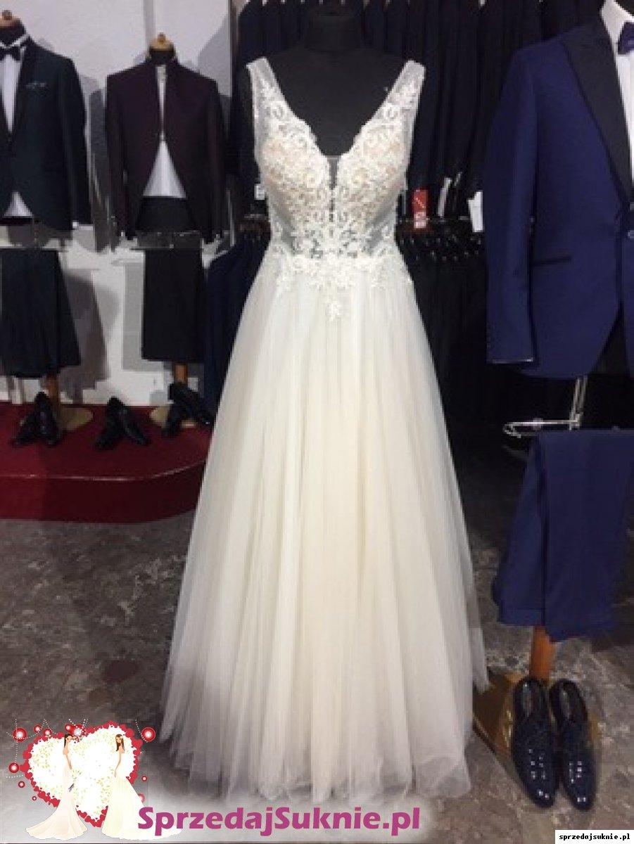 suknia ślubna w stanie idealnym, brokatowa spódnica,zdobiona góra