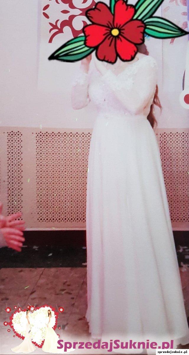 Piękna suknia ślubna w kolorze ecru, rozmiar 38, długie koronkowe rękawy, dekolt V oraz plecy z koronki na literkę V