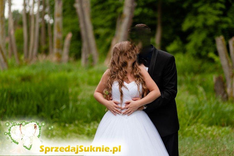 Biała suknia ślubna M 160cm+8cm obcas