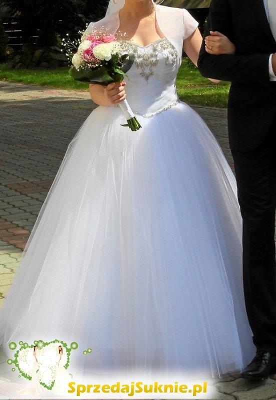 Śliczna suknia ślubna rozmiar 38 welon bolerko gratis !