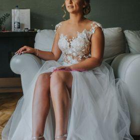 Suknia ślubna 36 smietankowo złota