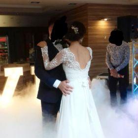 Suknia ślubna boho koronka zwiewna romantyczna 176cm