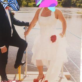 Suknia ślubna rozm.38/40 kolor ecru z dodatkami czerwieni