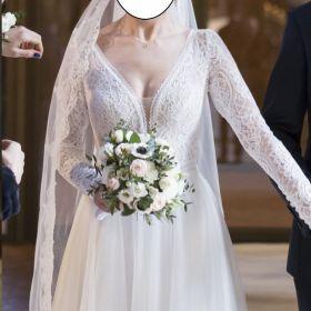 Suknia ślubna 2020 lekka, b. wygodna 36/38, 1 raz założona, welon 3m