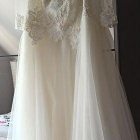 Suknia ślubna ecru dla puszystych, kobiety w ciąży