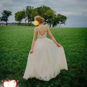 Morelowa Suknia Ślubna z welonem, grzebykiem i kolczykami- GDAŃSK