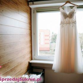 Zjawiskowa brzoskwiniowa suknia ślubna Olivia, welon gratis