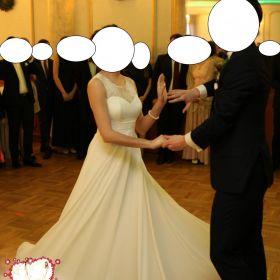 Suknia ślubna 36 może być ciążowa, ecru z muślinu