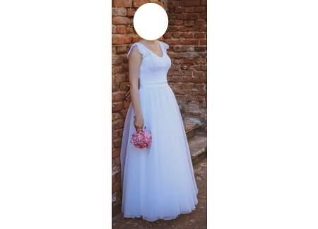Sprzedam śnieżnobiałą suknię ślubną w rozmiarze 36