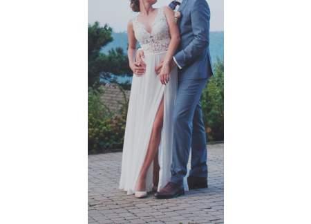 Suknia koronkowo muślinowa