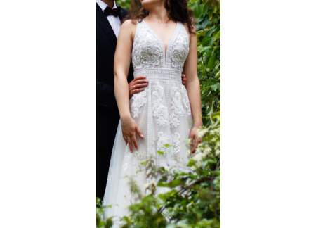 Suknia Ślubna 155+9 cm, rozm 36, Essense of Australia D2607