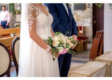 unikatowa suknia ślubna, najnowsza kolecja, r. 36/38, 174cm + obcas, ideał! welon gratis!