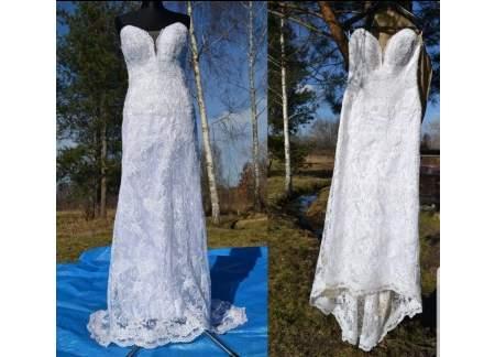 Suknia ślubna 36/38/40 biała koronka bez ramiączek gorset wiązany