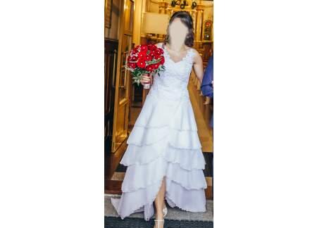 Oryginalna, wyjątkowa suknia ślubna w stylu hiszpańskim 2 w 1 (krótka+ długa) z trenem rozmiar 38/40