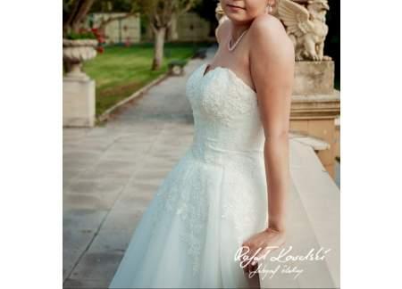 Cudowna suknia ślubna z brokatowyn tiulem-okazja!