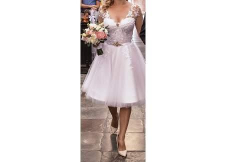 Biała krótka suknia ślubna