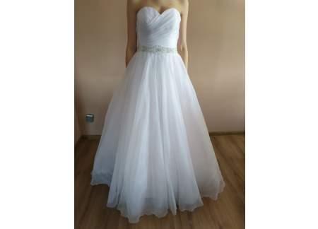 Piękna białą suknia księżniczka z pasem cyrkonii rozmiar XS