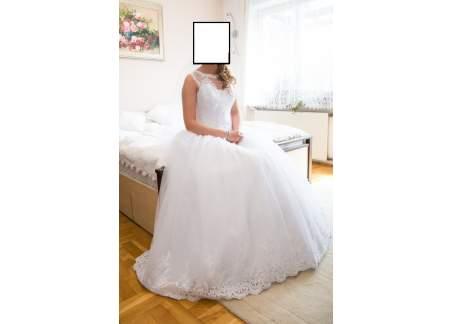 Suknia ślubna dla księżniczki plus sukienka weselna pudrowy róż gratis
