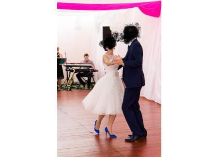Sukienka ślubna krótka -IGAR - w grochy