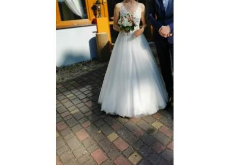 Suknia ślubna ivory z salonu Laura, piękna, litera A